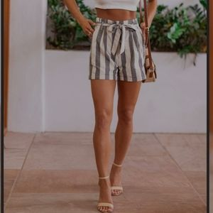 Women's Striped Paperbag Shorts Size 12